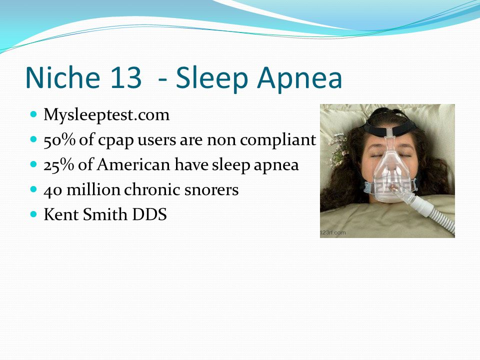 Niche 13 - Sleep Apnea Mysleeptest.com 50% of cpap users are non compliant 25% of American have sleep apnea 40 million chronic snorers Kent Smith DDS