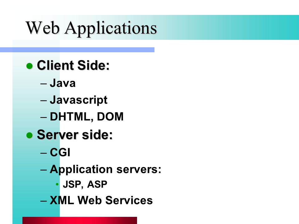 Web Applications Client Side: Client Side: –Java –Javascript –DHTML, DOM Server side: Server side: –CGI –Application servers: JSP, ASP –XML Web Services
