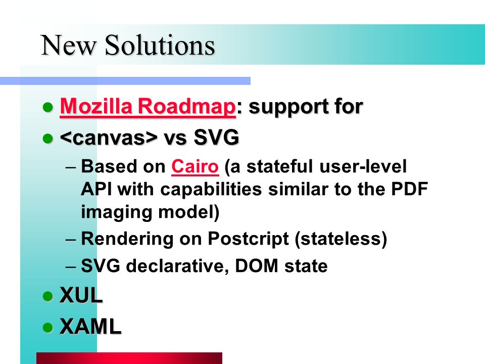 New Solutions Mozilla Roadmap: support for Mozilla Roadmap: support for Mozilla Roadmap Mozilla Roadmap vs SVG vs SVG –Based on Cairo (a stateful user-level API with capabilities similar to the PDF imaging model)Cairo –Rendering on Postcript (stateless) –SVG declarative, DOM state XUL XUL XAML XAML