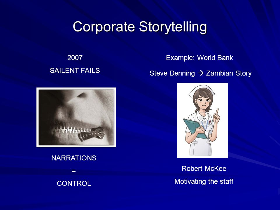 Corporate Storytelling NARRATIONS = CONTROL 2007 SAILENT FAILS Example: World Bank Steve Denning  Zambian Story Robert McKee Motivating the staff