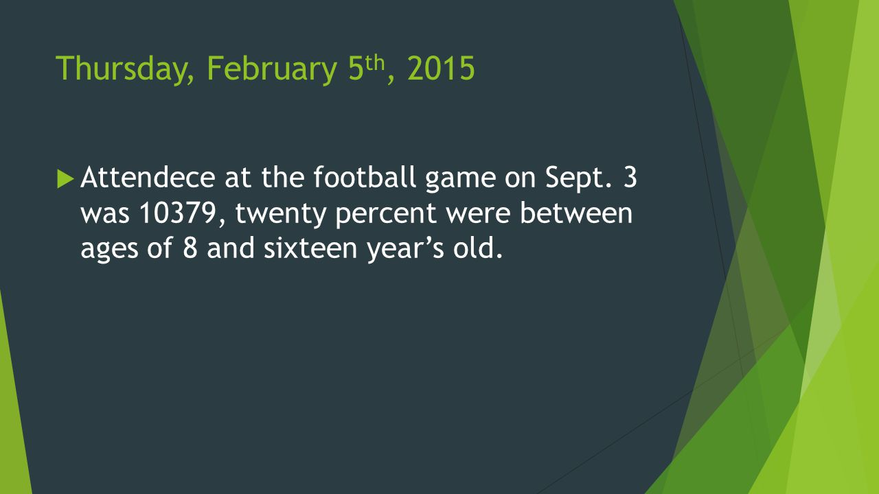 Thursday, February 5 th, 2015  Attendece at the football game on Sept.