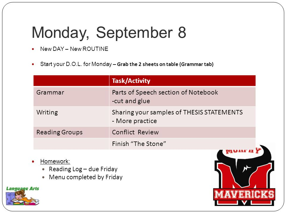 Tuesday, September 9 Day 2 of our NEW ROUTINE TURN IN HOMEWORK Start your D.O.L.