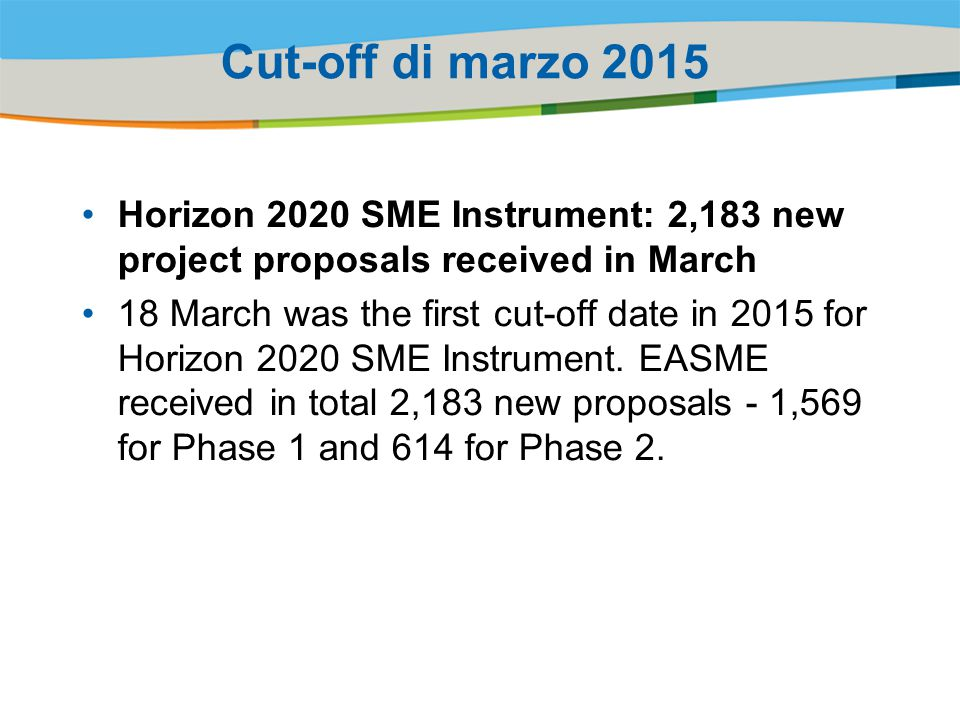 Cut-off di marzo 2015 Horizon 2020 SME Instrument: 2,183 new project proposals received in March 18 March was the first cut-off date in 2015 for Horizon 2020 SME Instrument.