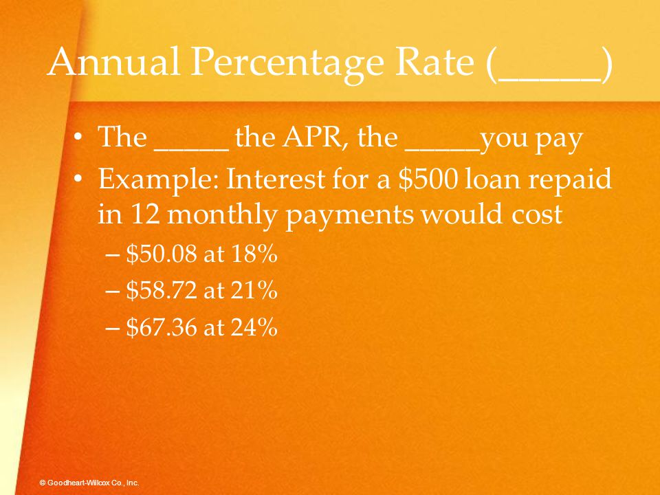 © Goodheart-Willcox Co., Inc. Annual Percentage Rate (_____) The _____ the APR, the _____you pay Example: Interest for a $500 loan repaid in 12 monthl