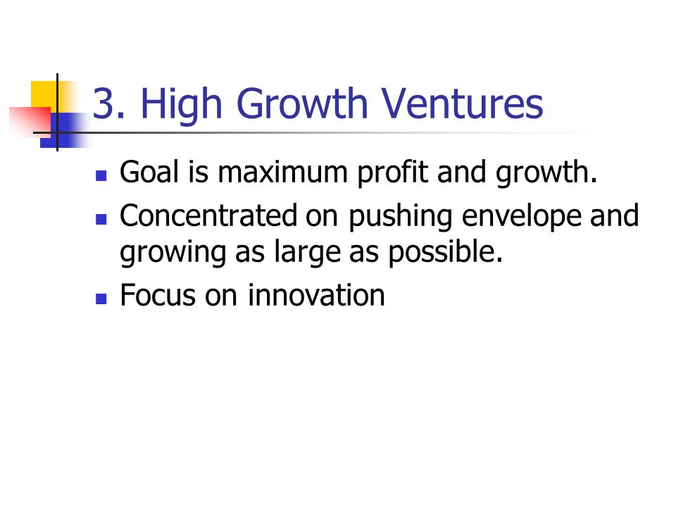 3. High Growth Ventures Goal is maximum profit and growth. Concentrated on pushing envelope and growing as large as possible. Focus on innovation