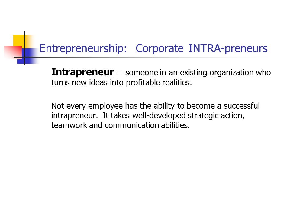 Entrepreneurship: Corporate INTRA-preneurs Intrapreneur = someone in an existing organization who turns new ideas into profitable realities. Not every