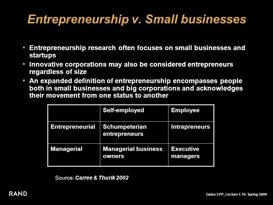 Gates EPP_Lecture 1-10 Spring 2009 Entrepreneurship v. Small businesses Entrepreneurship research often focuses on small businesses and startups Innov