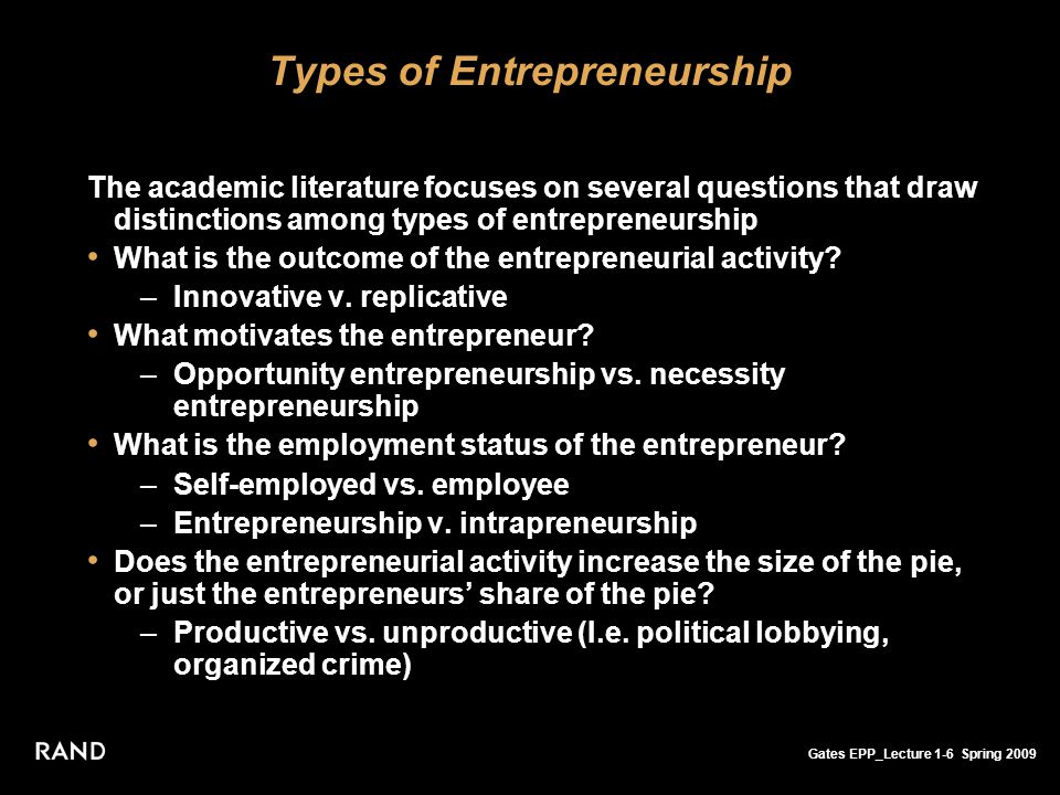 Gates EPP_Lecture 1-6 Spring 2009 Types of Entrepreneurship The academic literature focuses on several questions that draw distinctions among types of entrepreneurship What is the outcome of the entrepreneurial activity.