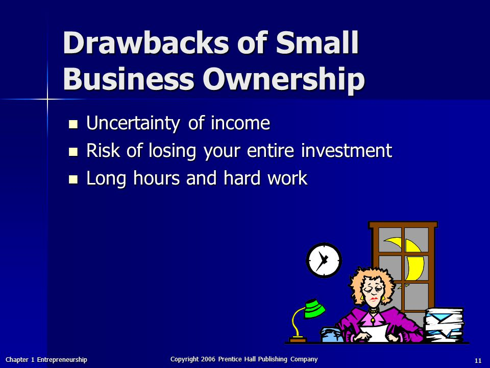 Chapter 1 Entrepreneurship Copyright 2006 Prentice Hall Publishing Company 11 Drawbacks of Small Business Ownership Uncertainty of income Uncertainty of income Risk of losing your entire investment Risk of losing your entire investment Long hours and hard work Long hours and hard work