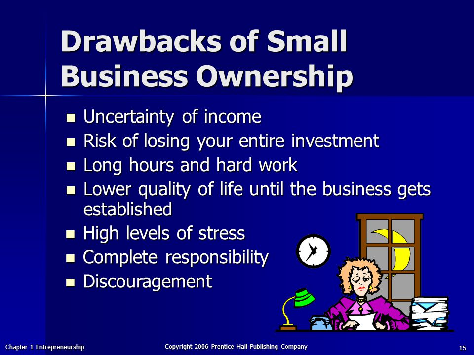 Chapter 1 Entrepreneurship Copyright 2006 Prentice Hall Publishing Company 15 Drawbacks of Small Business Ownership Uncertainty of income Uncertainty of income Risk of losing your entire investment Risk of losing your entire investment Long hours and hard work Long hours and hard work Lower quality of life until the business gets established Lower quality of life until the business gets established High levels of stress High levels of stress Complete responsibility Complete responsibility Discouragement Discouragement