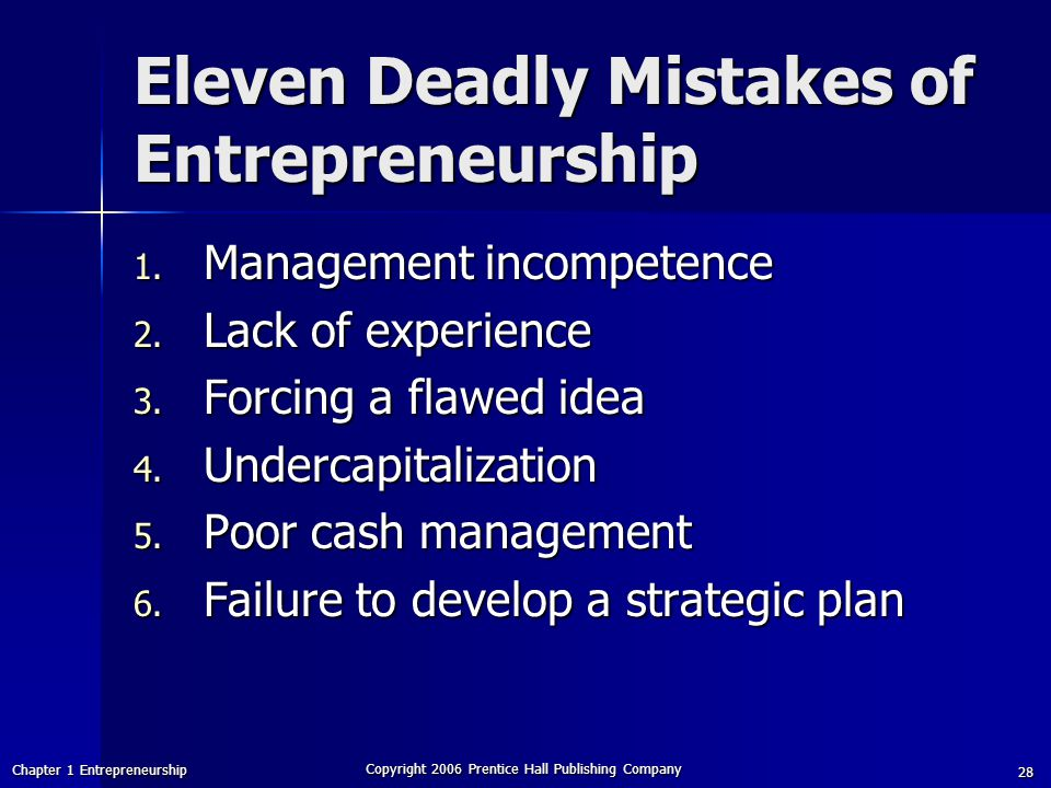 Chapter 1 Entrepreneurship Copyright 2006 Prentice Hall Publishing Company 28 Eleven Deadly Mistakes of Entrepreneurship 1.