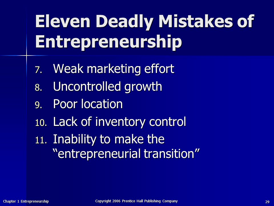 Chapter 1 Entrepreneurship Copyright 2006 Prentice Hall Publishing Company 29 Eleven Deadly Mistakes of Entrepreneurship 7.