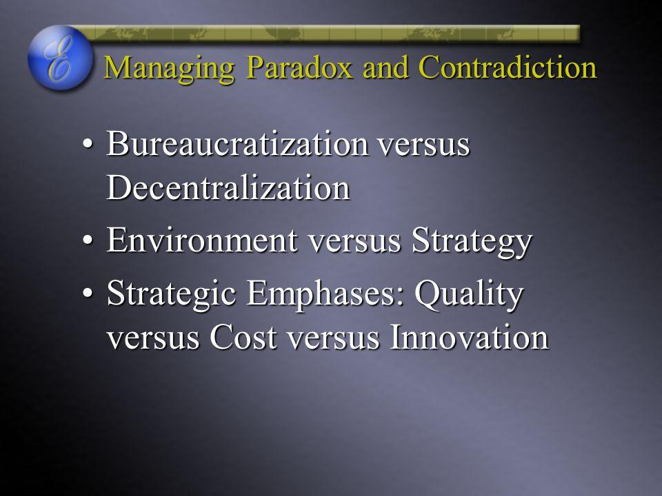 Managing Paradox and Contradiction Bureaucratization versus DecentralizationBureaucratization versus Decentralization Environment versus StrategyEnvir