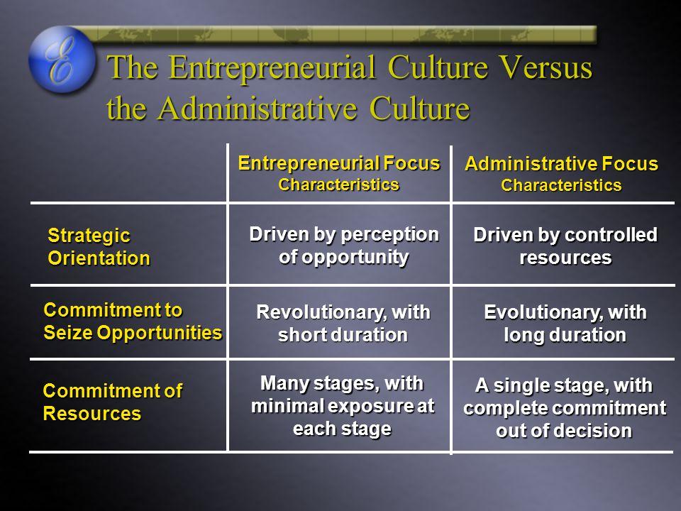 The Entrepreneurial Culture Versus the Administrative Culture Entrepreneurial Focus Characteristics Administrative Focus Characteristics Strategic Ori