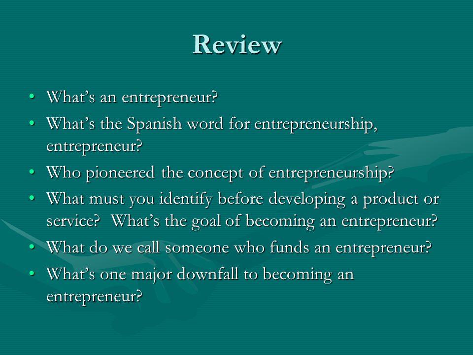 Review What's an entrepreneur What's an entrepreneur.