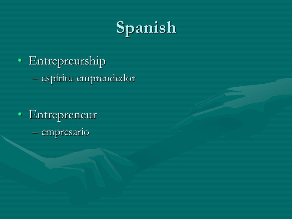 Spanish EntrepreurshipEntrepreurship –espíritu emprendedor EntrepreneurEntrepreneur –empresario