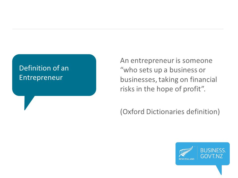 """Definition of an Entrepreneur An entrepreneur is someone """"who sets up a business or businesses, taking on financial risks in the hope of profit"""". (Oxf"""