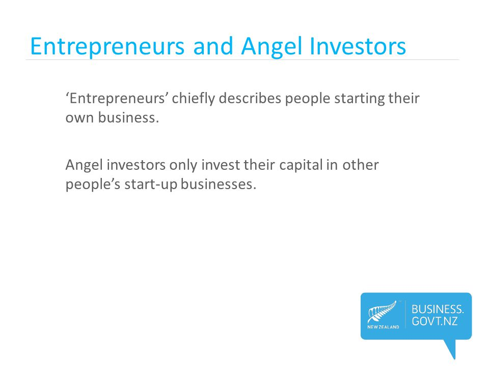 Entrepreneurs and Angel Investors 'Entrepreneurs' chiefly describes people starting their own business. Angel investors only invest their capital in o