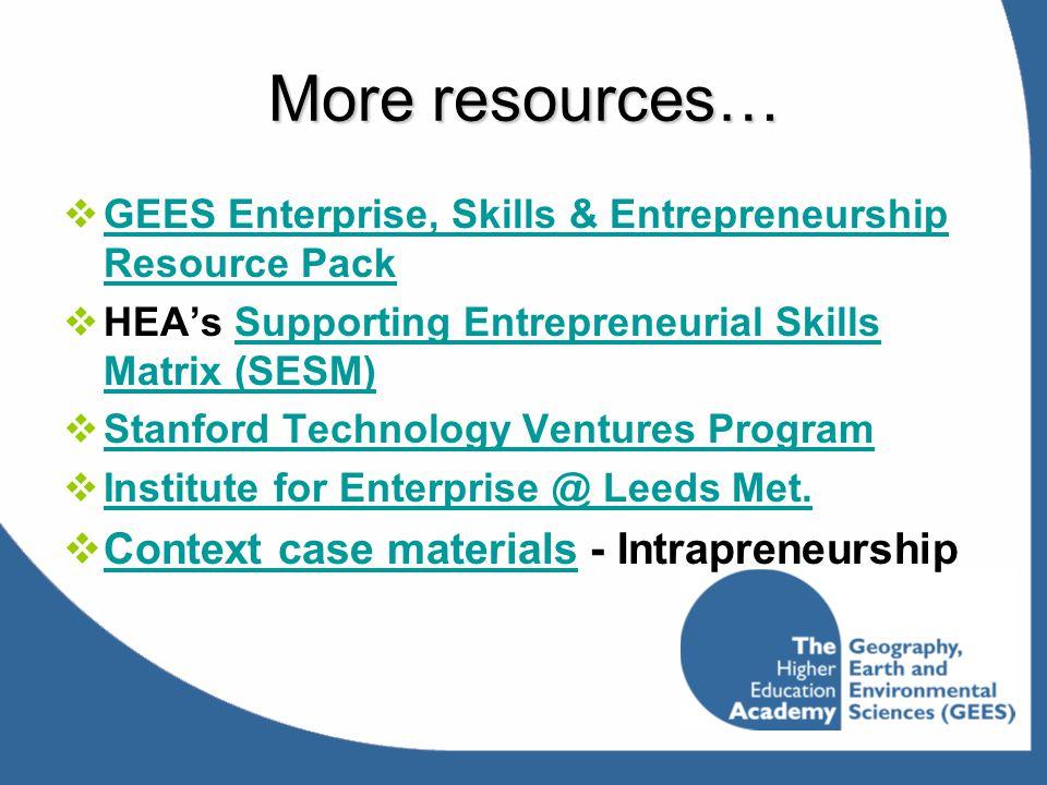 More resources…  GEES Enterprise, Skills & Entrepreneurship Resource Pack GEES Enterprise, Skills & Entrepreneurship Resource Pack  HEA's Supporting