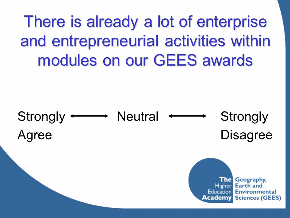 There is already a lot of enterprise and entrepreneurial activities within modules on our GEES awards StronglyNeutralStrongly AgreeDisagree