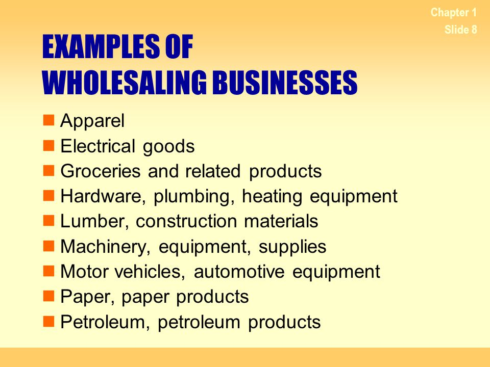 Chapter 1 Slide 9 EXAMPLES OF RETAILING BUSINESSES Auto and home supply stores Building materials and supply stores Clothing stores Florists Furniture stores Gift, novelty, and souvenir stores Grocery stores Hardware stores Jewelry stores Retail bakeries Shoe stores Sporting goods and bicycle stores