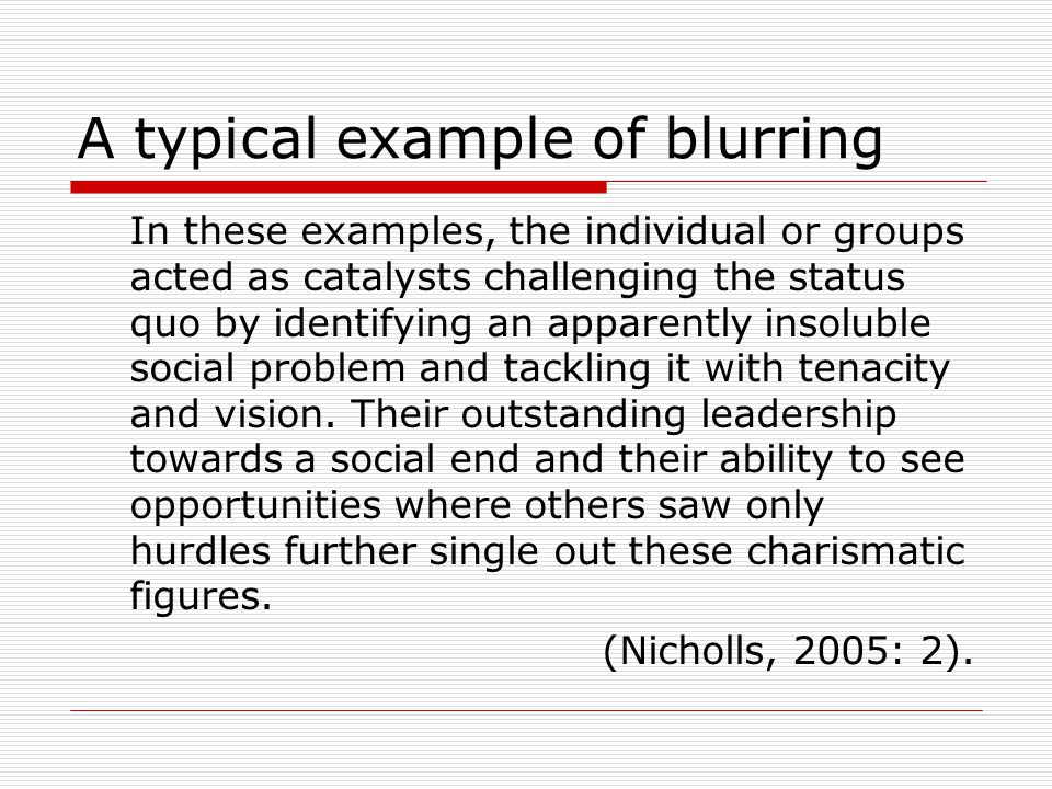 A typical example of blurring In these examples, the individual or groups acted as catalysts challenging the status quo by identifying an apparently i