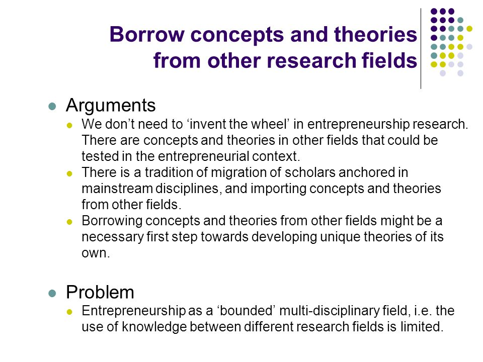 Borrow concepts and theories from other research fields Arguments We don't need to 'invent the wheel' in entrepreneurship research. There are concepts