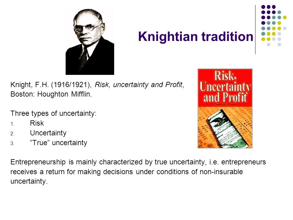 Knightian tradition Knight, F.H. (1916/1921), Risk, uncertainty and Profit, Boston: Houghton Mifflin. Three types of uncertainty: 1. Risk 2. Uncertain