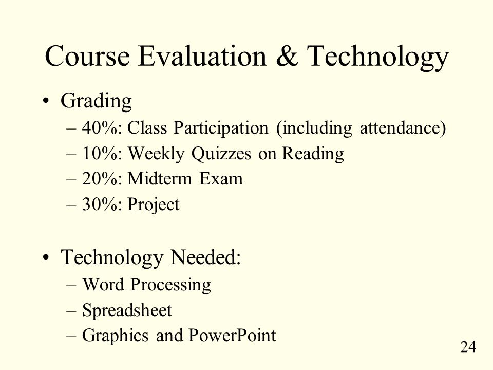 24 Course Evaluation & Technology Grading –40%: Class Participation (including attendance) –10%: Weekly Quizzes on Reading –20%: Midterm Exam –30%: Project Technology Needed: –Word Processing –Spreadsheet –Graphics and PowerPoint