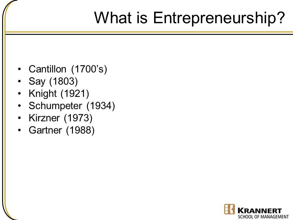 What is Entrepreneurship? Cantillon (1700's) Say (1803) Knight (1921) Schumpeter (1934) Kirzner (1973) Gartner (1988)