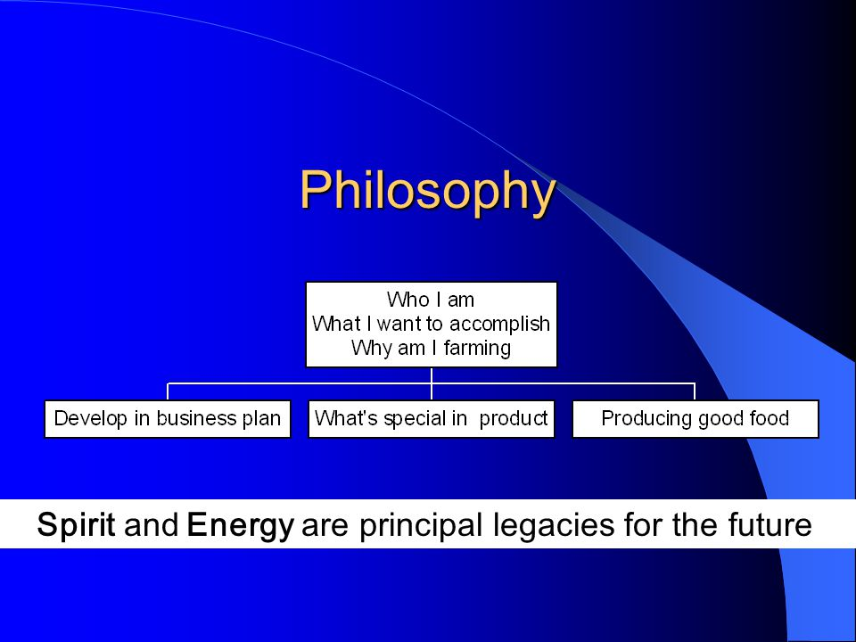 Philosophy Spirit and Energy are principal legacies for the future