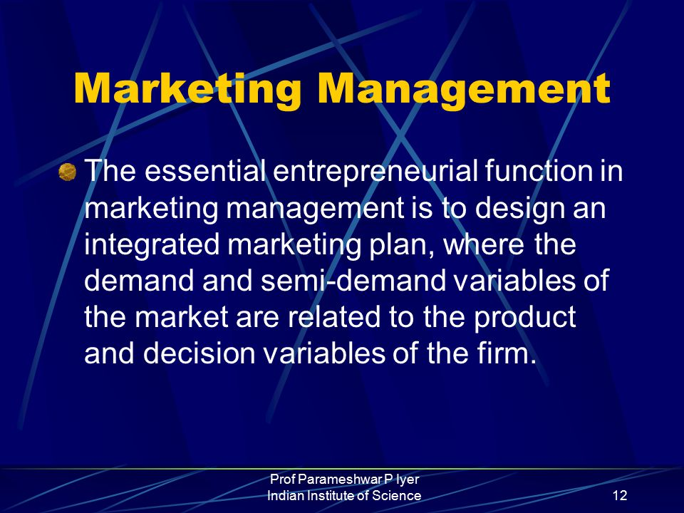 Prof Parameshwar P Iyer Indian Institute of Science12 Marketing Management The essential entrepreneurial function in marketing management is to design an integrated marketing plan, where the demand and semi-demand variables of the market are related to the product and decision variables of the firm.