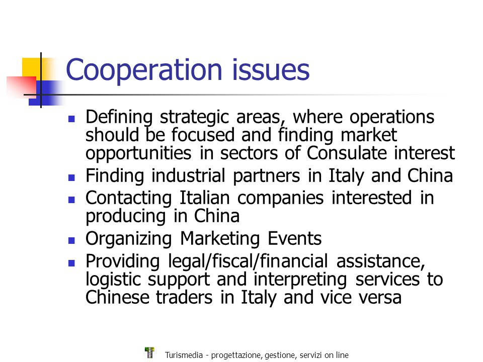 Turismedia - progettazione, gestione, servizi on line Cooperation issues Defining strategic areas, where operations should be focused and finding market opportunities in sectors of Consulate interest Finding industrial partners in Italy and China Contacting Italian companies interested in producing in China Organizing Marketing Events Providing legal/fiscal/financial assistance, logistic support and interpreting services to Chinese traders in Italy and vice versa