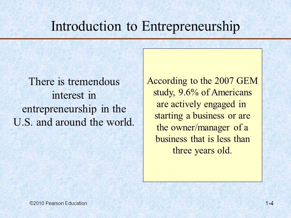 ©2010 Pearson Education 1-5 Indications of Increased Interest in Entrepreneurship Books –Amazon.com lists over 45,000 books dealing with entrepreneurship and 118,000 focused on small business.