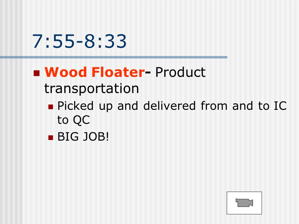 7:55-8:33 Wood Floater- Product transportation Picked up and delivered from and to IC to QC BIG JOB!