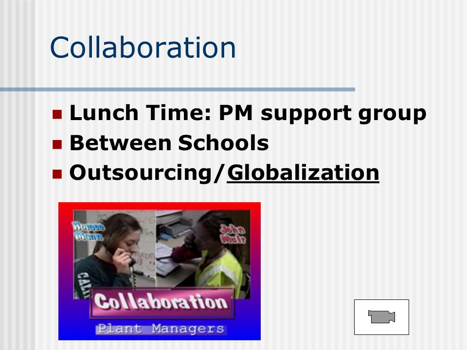 Collaboration Lunch Time: PM support group Between Schools Outsourcing/Globalization