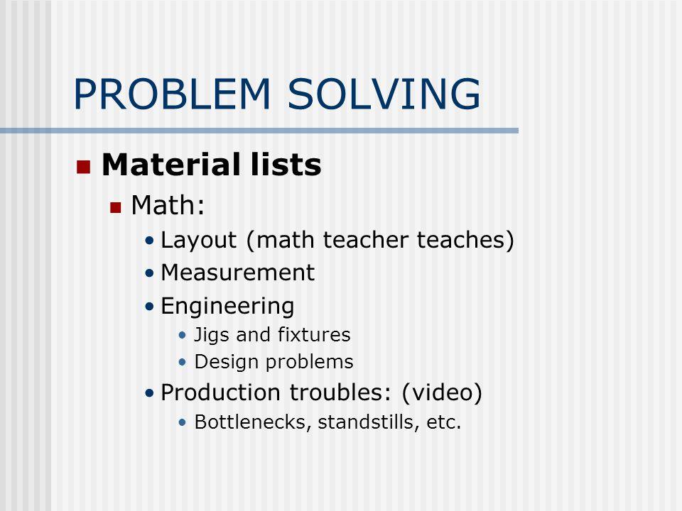PROBLEM SOLVING Material lists Math: Layout (math teacher teaches) Measurement Engineering Jigs and fixtures Design problems Production troubles: (video) Bottlenecks, standstills, etc.