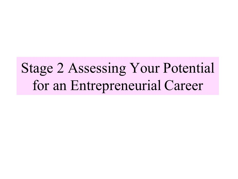 Stage 2 Assessing Your Potential for an Entrepreneurial Career