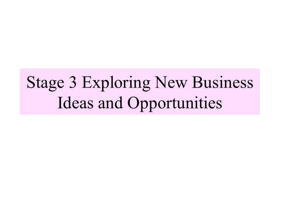 Stage 3 Exploring New Business Ideas and Opportunities