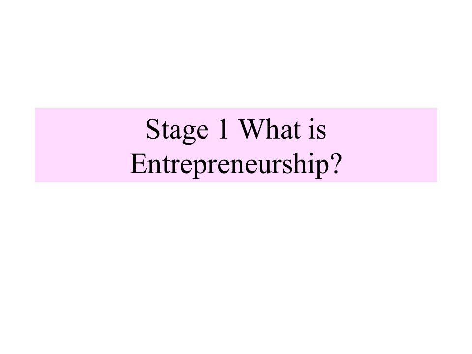 Stage 1 What is Entrepreneurship?