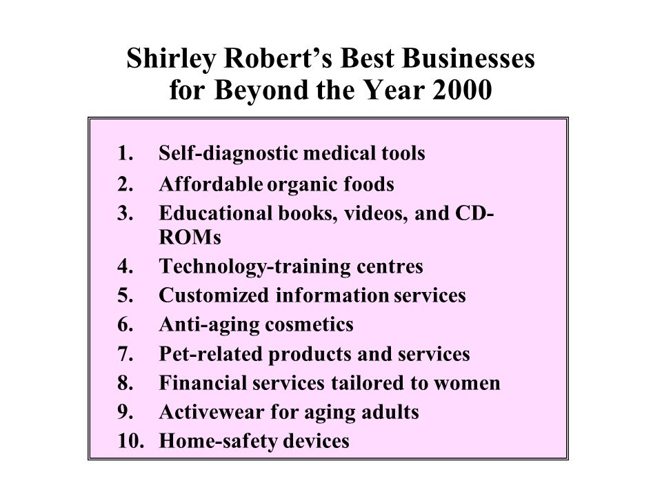 Shirley Robert's Best Businesses for Beyond the Year 2000 1.Self-diagnostic medical tools 2.Affordable organic foods 3.Educational books, videos, and
