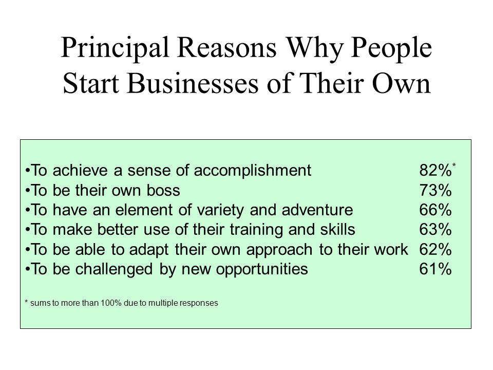 Principal Reasons Why People Start Businesses of Their Own To achieve a sense of accomplishment82% * To be their own boss73% To have an element of var