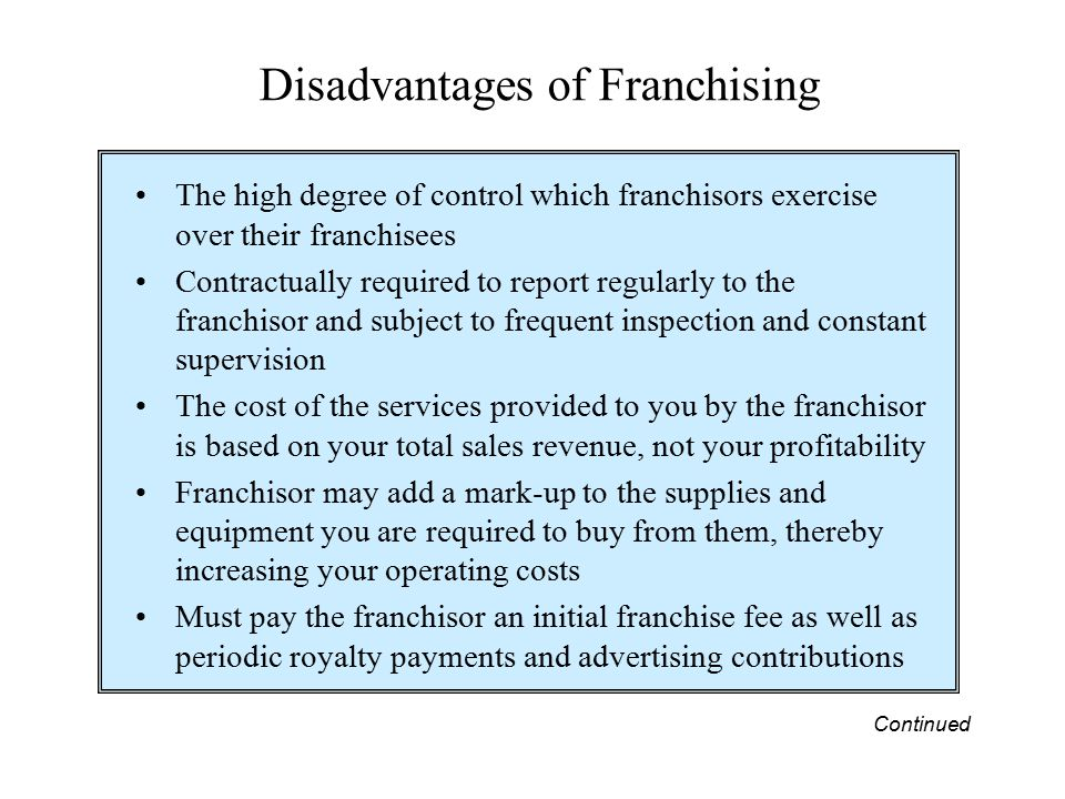 Disadvantages of Franchising The high degree of control which franchisors exercise over their franchisees Contractually required to report regularly t
