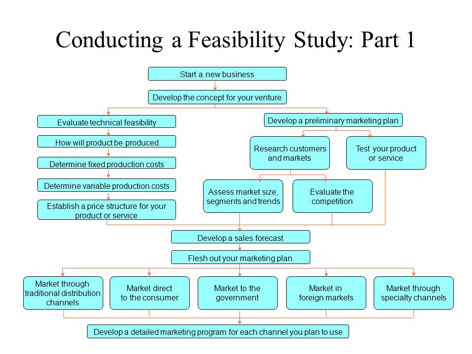 Conducting a Feasibility Study: Part 1 Start a new business Develop the concept for your venture Develop a sales forecast Flesh out your marketing pla
