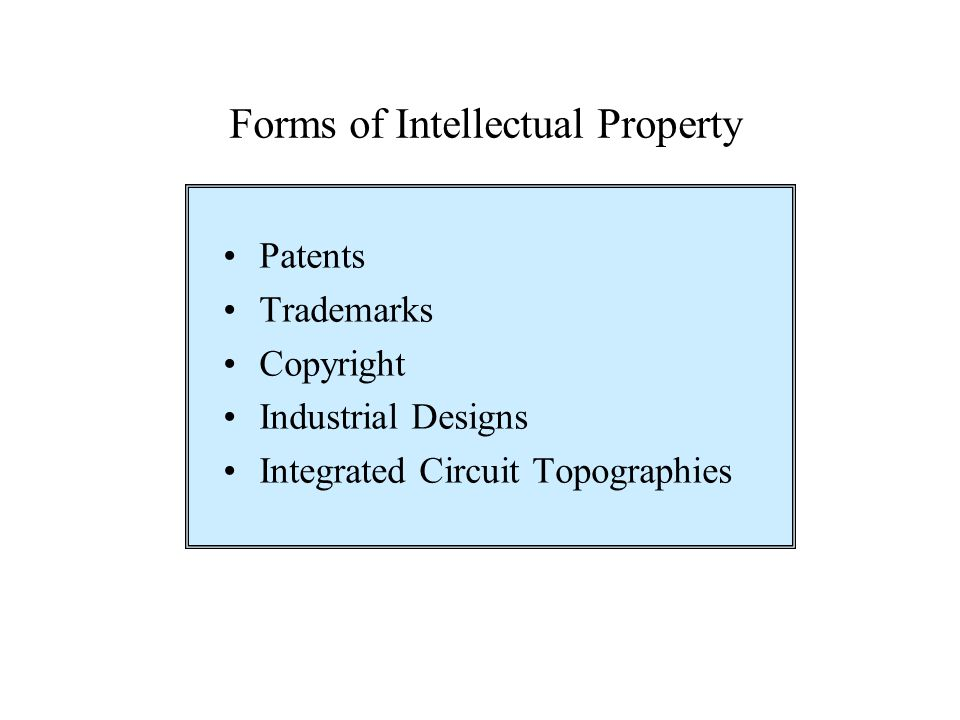 Forms of Intellectual Property Patents Trademarks Copyright Industrial Designs Integrated Circuit Topographies