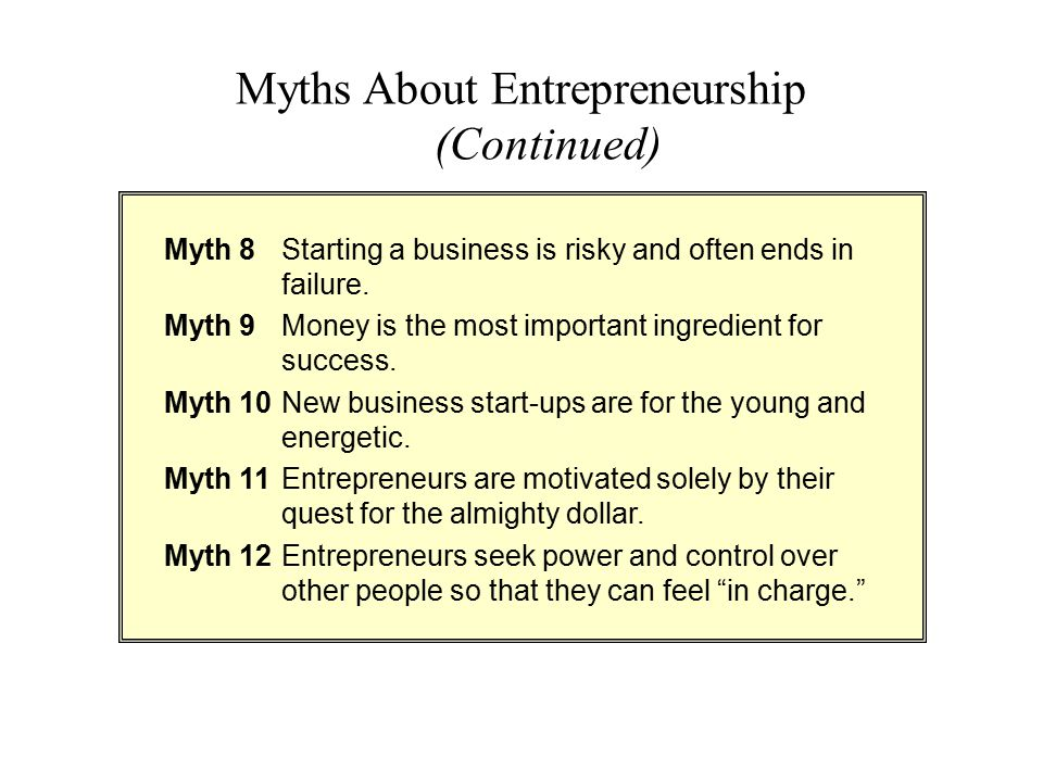 Myth 8Starting a business is risky and often ends in failure. Myth 9Money is the most important ingredient for success. Myth 10New business start-ups