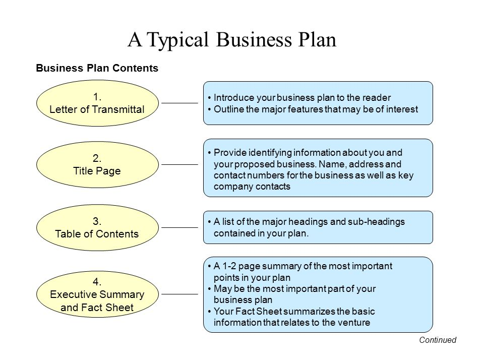 A Typical Business Plan 1. Letter of Transmittal 2. Title Page 3. Table of Contents 4. Executive Summary and Fact Sheet Introduce your business plan t
