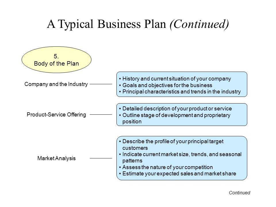 A Typical Business Plan (Continued) 5. Body of the Plan History and current situation of your company Goals and objectives for the business Principal