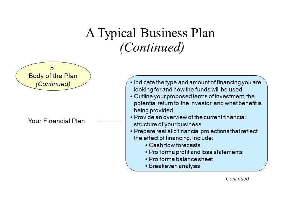 A Typical Business Plan (Continued) Indicate the type and amount of financing you are looking for and how the funds will be used Outline your proposed
