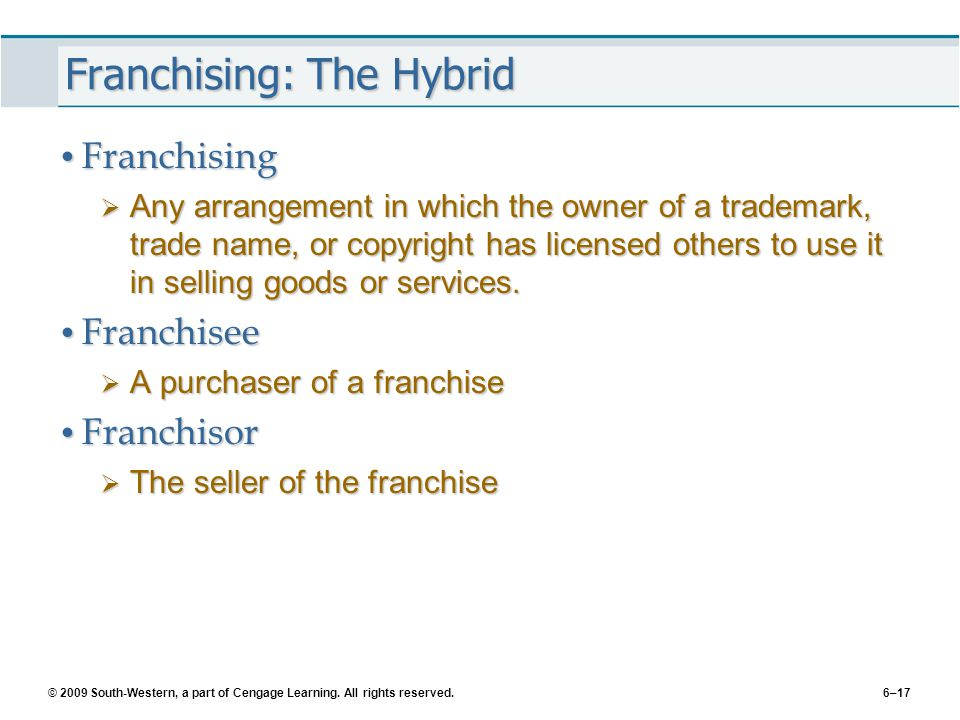 © 2009 South-Western, a part of Cengage Learning. All rights reserved.6–17 Franchising: The Hybrid Franchising Franchising  Any arrangement in which